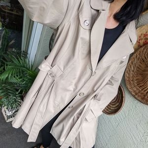 Via Spiga 2X Trench Coat Tan Belted Jacket Hooded